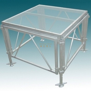 Portable Glass Acrylic Transparent Dance Stage Platform Podium 7.5x2.5m Height 0.4-0.8m