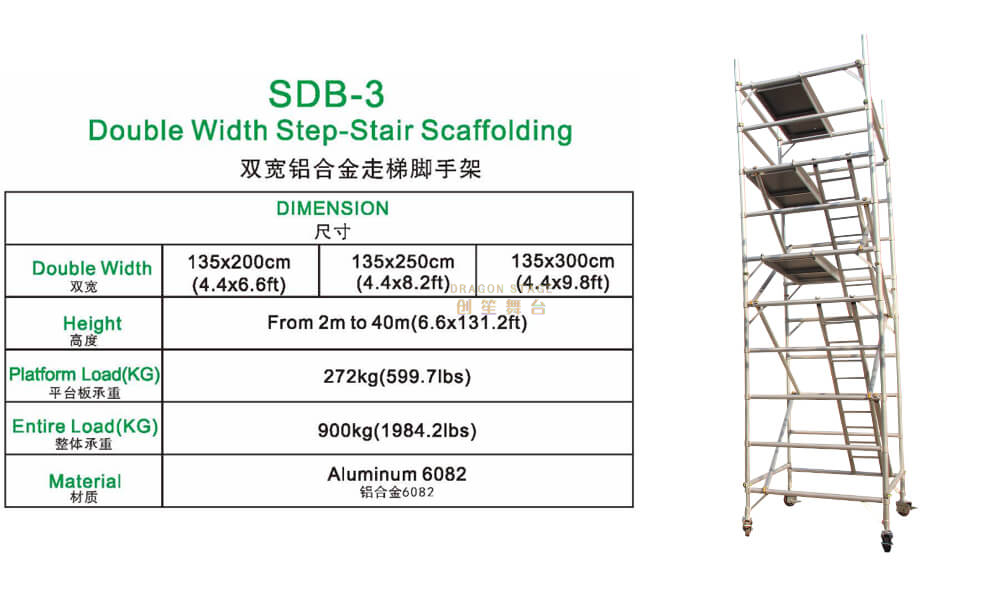 Construction Tower Double scaffolding with step ladder