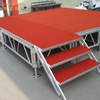 wooden red Round Stage with carpet