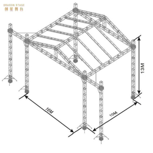 Custom Aluminum Ceiling Lighting Roof Tube Truss Structure for Events